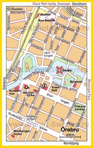 Туристическая карта Эребру с достопримечательностями