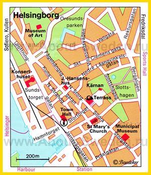 Туристическая карта Хельсингборга с достопримечательностями