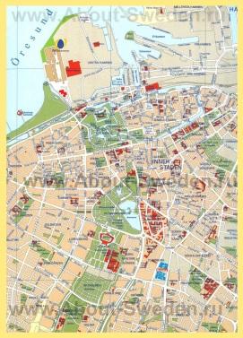 Подробная карта Мальмё с достопримечательностями