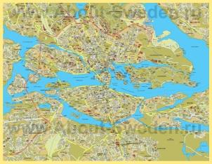 Подробная карта Стокгольма