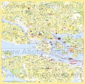 Туристическая карта Стокольма с достопримечательностями
