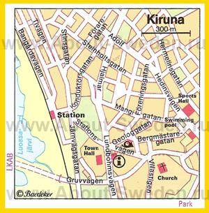 Туристическая карта Кируны с достопримечательностями