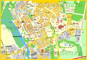 Подробная карта города Кристианстад