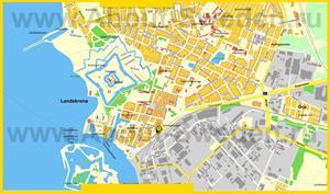 Туристическая карта Ландскруны с достопримечательностями