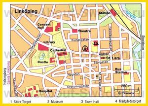 Карта Линчёпинга с достопримечательностями