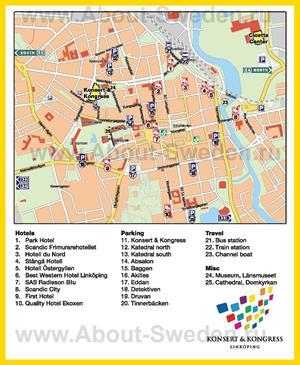 Туристическая карта Линчёпинга с отелями