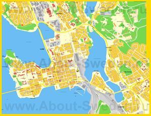 Туристическая карта Лулео с достопримечательностями