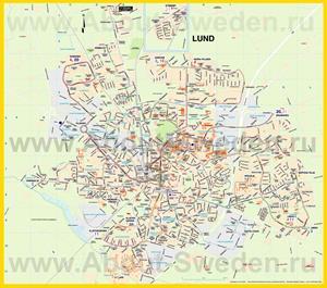 Туристическая карта Лунда с достопримечательностями