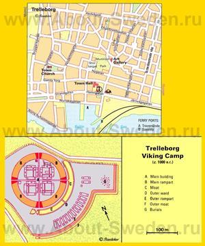 Туристическая карта Треллеборга с достопримечательностями