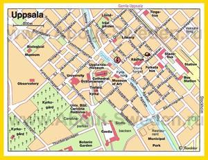 Карта Уппсалы с достопримечательностями