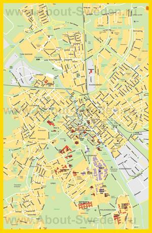 Подробная карта города Уппсала с отелями