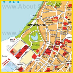 Подробная карта города Висбю с достопримечательностями