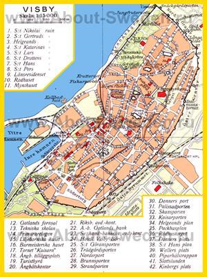 Старая карта Висбю