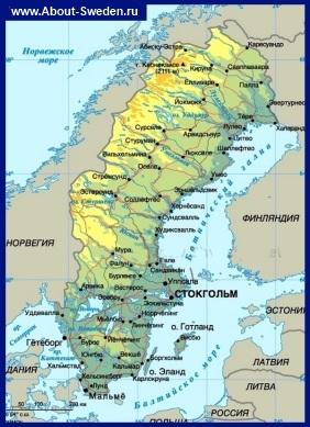 Физическая карта Швеции на русском языке