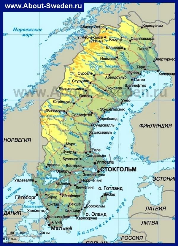 Karta Shvecii Podrobnye Karty Shvecii Na Russkom Yazyke