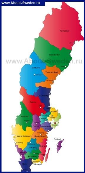 Карта Швеции по Ленам